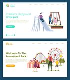 Children Playground, Welcome to Amusement Park. Children playground vector, father with kids, welcome to amusement park. Mother with daughter on swings, sand vector illustration