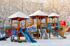 Children playground in winter Royalty Free Stock Image