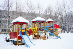 Children playground in winter Royalty Free Stock Photography