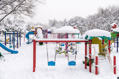 Children Playground In Winter Snow Stock Image