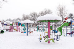Children Playground In Winter Snow Royalty Free Stock Photo