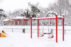 Children Playground In Winter Snow Royalty Free Stock Photography