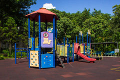 Children playground in woods royalty free stock photos