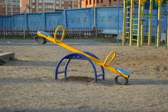 Children playground on yard activities in the courtyard royalty free stock photography