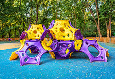 Children playground on yard activities in public park. Royalty Free Stock Images