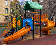 Children playground in the yard. Children playground in the park in summer day Stock Photography