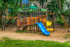 Children playground in the yard. In summer Royalty Free Stock Photography