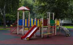 Children playground in the yard. In summer Royalty Free Stock Image