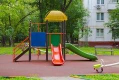 Children playground in the yard. In summer stock photo