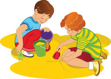 Children playing. Vector file for postcards, illustrations, design of children's materials stock illustration