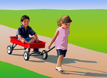 Children Playing. Girl pulling wagon with boy sitting and smiling Stock Images