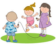Children Playing. Hand drawn picture of children playing with a skipping rope, illustrated in a loose style. Vector eps available stock illustration