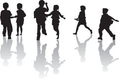 Children Playing. Three Silhouette movement of a pair of brother and sister while playing Stock Photos