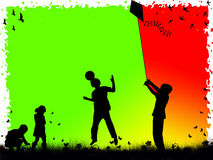 Children playing. Silhouettes of children playing sports Stock Images
