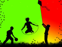 Children playing. Silhouettes of children playing sports Stock Photography