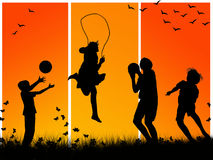 Children playing. Silhouettes of children playing sports Stock Photos