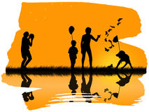 Children playing. Silhouettes of children playing sports Royalty Free Stock Photography