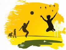 Children playing. Silhouettes of children playing sports Stock Image