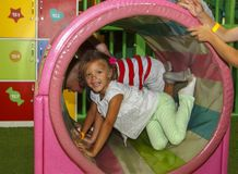 Children Playing And Having A Good Time In Kids Zone In Amusemen Royalty Free Stock Image