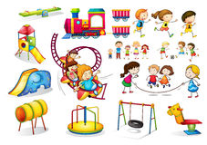 Free Children Playing And Playground Set Royalty Free Stock Photos - 58330258