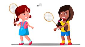 Children Playing Badminton On The Playground In Summer Vector. Girls. Isolated Illustration. Children Playing Badminton On The Playground Vector. Girls. Isolated stock illustration