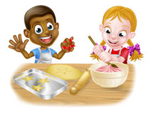 Children Playing at Baking. Cartoon boy and girl kids, one black one white, dressed as chefs or bakers baking cakes and cookies vector illustration