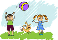 Children playing with a ball. Happy children with a dog playing ball stock illustration