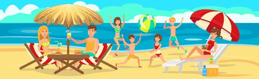 Children playing on beach. Active rest of family. vector illustration