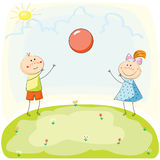 Children playing with a Ball on the Hill. Hand Drawn Vector Illustration. Kids playing with a Ball on the Hill. Hand Drawn Vector Illustration Royalty Free Stock Photos