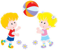 Children playing a ball royalty free illustration