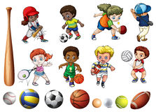 Children playing ball related sports. Illustration Royalty Free Stock Images