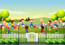Children playing balloon game in the park Royalty Free Stock Photo