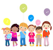 Children playing with balloons Stock Photo
