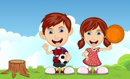 Children playing baskelball in the park cartoon vector illustration Royalty Free Stock Images