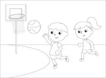Children playing basketball black and white vector Stock Images