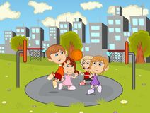 Children playing basketball in the city park cartoon. Full color vector illustration
