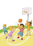 CHILDREN PLAYING BASKETBALL. Children playing outdoor basketball at the school yard stock illustration