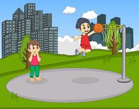 Children playing basketball in the park cartoon Stock Images