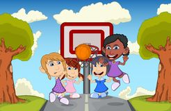 Children playing basketball on the park cartoon Stock Photos