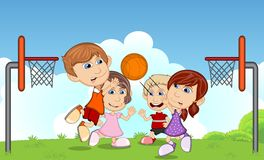 Children playing basketball on the park cartoon Stock Photography