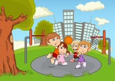 Children playing basketball on the park cartoon Royalty Free Stock Photo