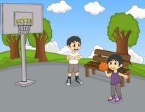 Children playing basketball at the park cartoon Stock Images