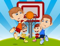 Children playing basketball on the park cartoon vector illustration Stock Images