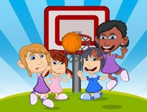 Children playing basketball on the park cartoon vector illustration Royalty Free Stock Images