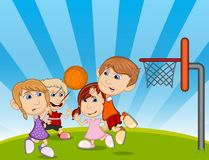 Children playing basketball on the park cartoon vector illustration Royalty Free Stock Photo