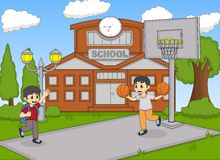 Children playing basketball at the school cartoon Royalty Free Stock Image