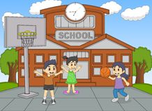 Children playing basketball at the school cartoon Royalty Free Stock Photography