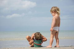 Children playing on beach Royalty Free Stock Image