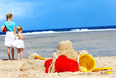 Children  playing on  beach. Royalty Free Stock Photography