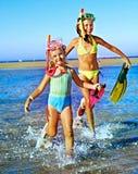Children playing on  beach. Stock Image